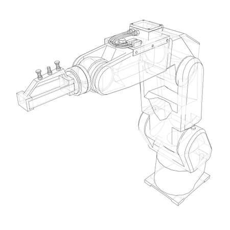 Manipulador de robot industrial. Imagen vectorial renderizada a partir de un modelo 3d en estilo boceto o dibujo. Fondo blanco