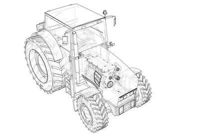 Farm Tractor Concept. Vector rendering of 3d. Wire-frame style. The layers of visible and invisible lines are separated