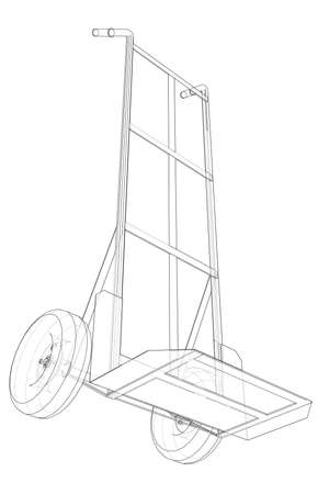 Outline delivery trolley or hand truck. Vector image rendered from 3d model in sketch style or drawing. Blue background