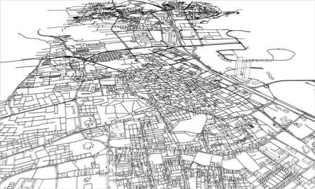 Outline city concept vector. Wire-frame style. The layers of visible and invisible lines. 3D illustration Vettoriali