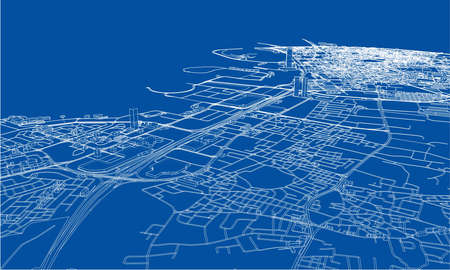 Outline city concept vector. Wire-frame style. The layers of visible and invisible lines. 3D illustration Stock Illustratie