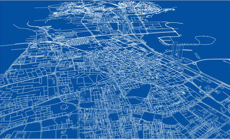 Outline city concept vector. Wire-frame style. The layers of visible and invisible lines. 3D illustration Illustration