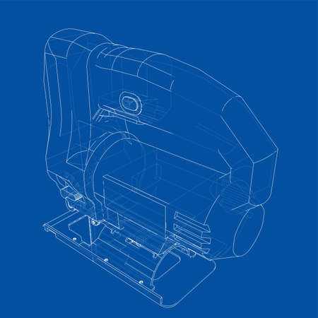 Outline Jig saw. Vector image rendered from 3d model in sketch style or drawing. Blue background 矢量图像