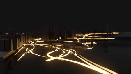 Modern city traffic road at night Stock Photo