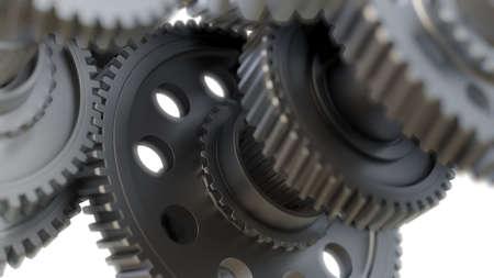 Primer plano de ruedas de metal de engranaje. Ilustración 3D