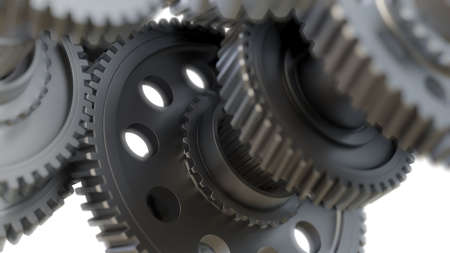 Zahnrad-Metallräder Nahaufnahme. 3D-Abbildung