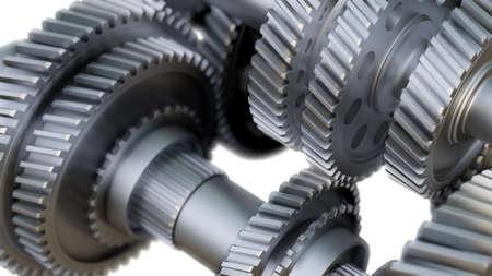 Primer plano de ruedas de metal de engranaje. Ilustración 3D Foto de archivo