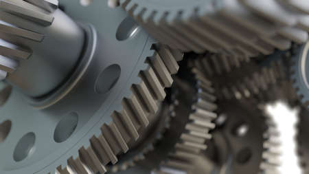 Gear metal wheels close-up. 3D ollustration