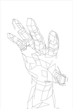 Outline human hand vector. Wire-frame style