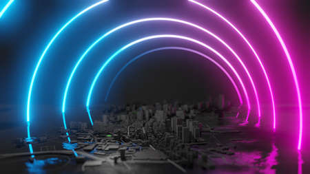 Futuristic night city. Cyberpunk style 3D illustration