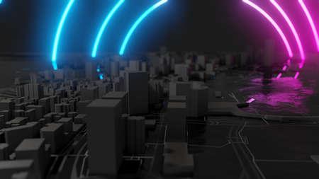Futuristic night city. Cyberpunk style 3D illustration Stock Illustration - 129706696