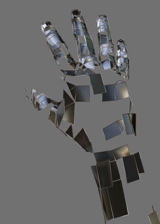 Abstract robot hand. Metal hand