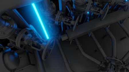 Abstract Industrial Equipment with Neon Lights 版權商用圖片