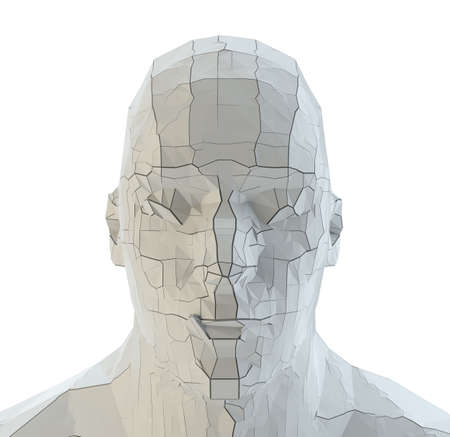 Abstract robot head of white color with cracks Stock fotó - 130052694