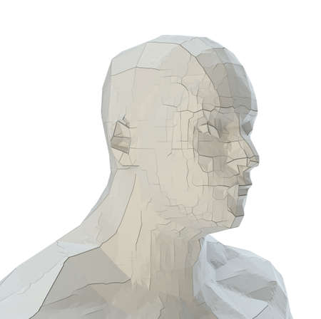 Abstract robot head of white color with cracks Banco de Imagens