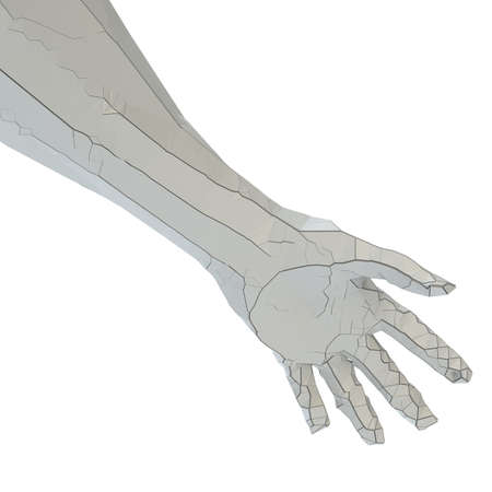 Abstract robot hand of white color with cracks