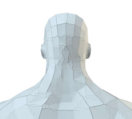 Abstract robot head of white color with cracks Stock fotó - 130053025