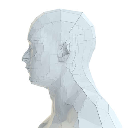 Abstract robot head of white color with cracks Stock fotó - 130053027