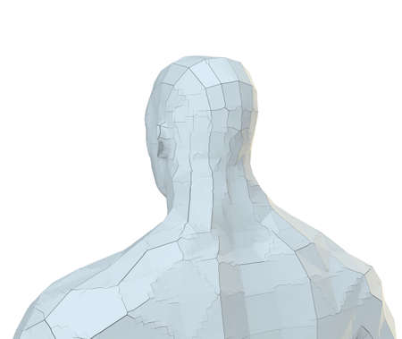 Abstract robot head of white color with cracks Banco de Imagens - 130053127