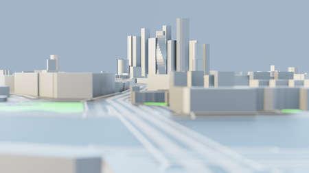 3D illustration. White Futuristic City in sunny day