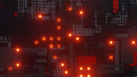Abstract futuristic design. Tech wall with red bright elements 스톡 콘텐츠