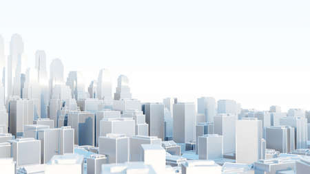3d abstract modern city in sunny day