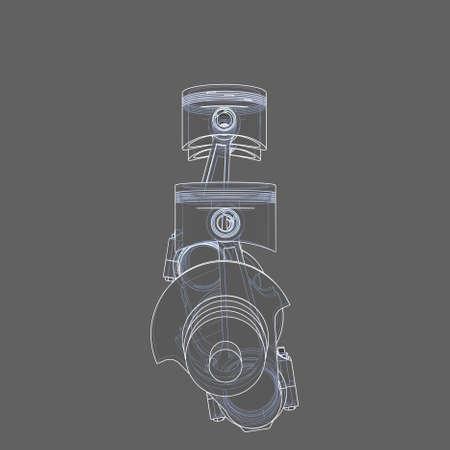 Engine pistons outline. 3D illustration 写真素材