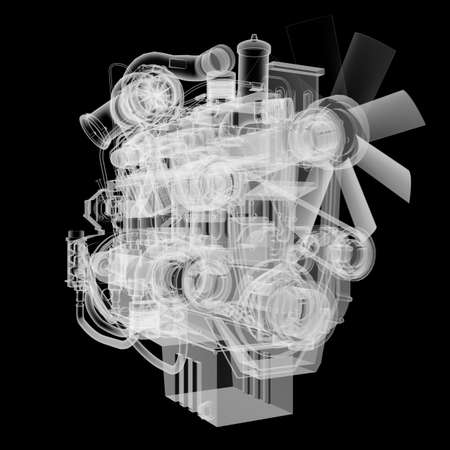 Internal combustion engine X-Ray style Stock Photo - 130676993