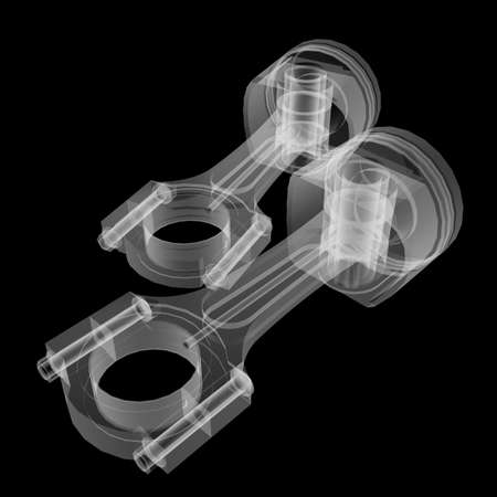 Piston X-Ray style Stock Photo