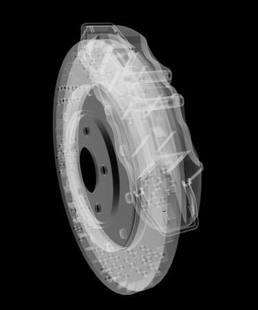 Brake disc and pads X-Ray style Stock Photo - 130677155