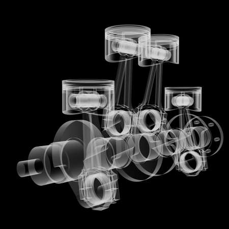 Pistons and crankshaft X-Ray style Stock Photo