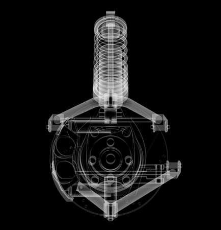 X-ray Car suspension and brake disk Stockfoto - 130677238