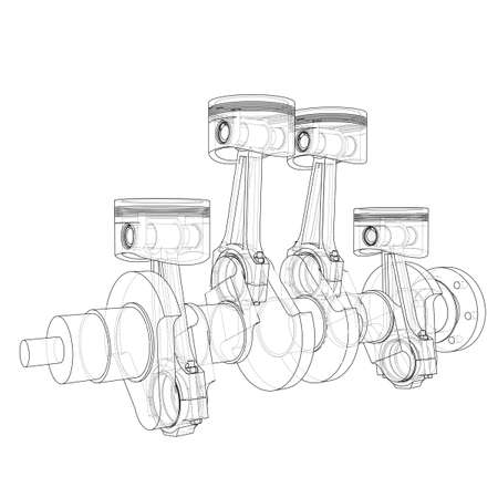 Engine pistons outline. Vector rendering of 3d