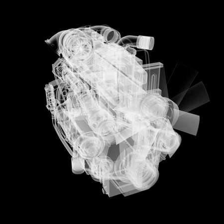 Internal combustion engine X-Ray style Stock Photo - 130677311