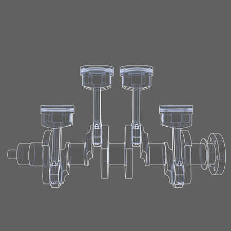 Engine pistons outline. 3D illustration Stock Photo