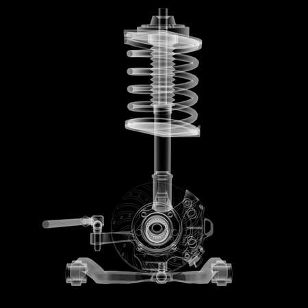 X-ray Car suspension and brake disk