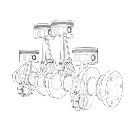 Engine pistons outline. Vector rendering of 3d Vector Illustration