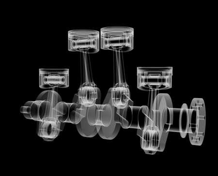 Pistons and crankshaft X-Ray style 写真素材