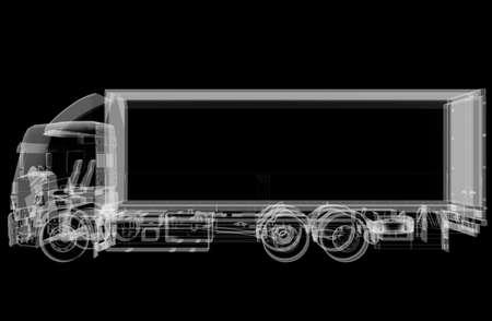 Truck x-ray on black background 写真素材