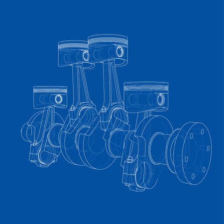 Engine pistons outline. Vector rendering of 3d