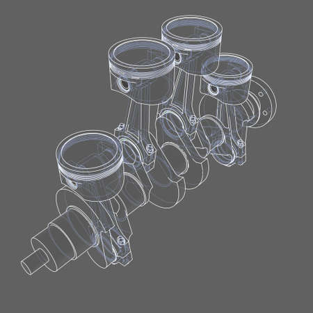 Engine pistons outline. 3D illustration. White lines and grey background