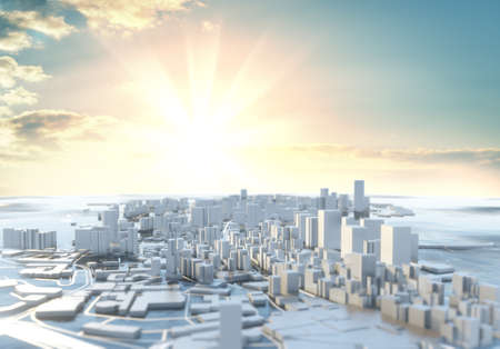 3D illustration. Futuristic City in sunny day