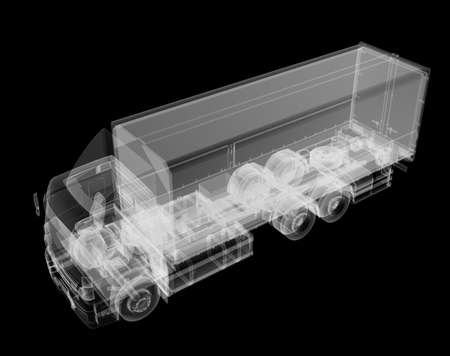 Truck x-ray on black background Stock Photo