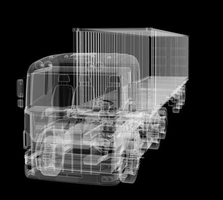 X-ray of heavy truck with semi-trailer on black background
