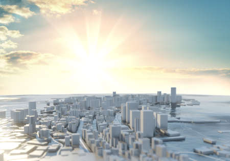 3D illustration. Futuristic City in sunny day
