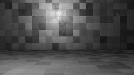 Empty windowless interior. 3D illustration