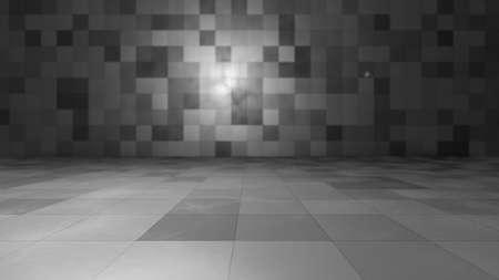 Empty windowless interior, wall and floor made of tiles. 3D illustration