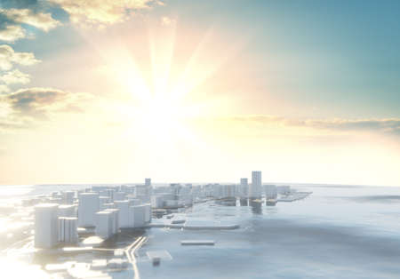 3D illustration. Futuristic City in sunny day. Sky background
