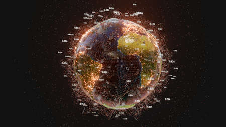 Connection lines and dots around Earth globe