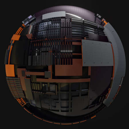 Abstract Hardsurface Sci-Fi Technology Sphere. Space Station Or Spaceship. 3D renderingor 3D illustration. Isolate on Drak background Stock fotó